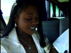 Menage Trois ass banged in a bus